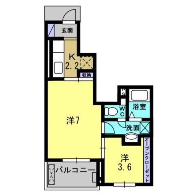 K2.2帖・洋室7帖・洋室3.6帖
