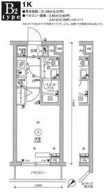 スカイコート品川パークサイドⅢ3階Fの間取り画像