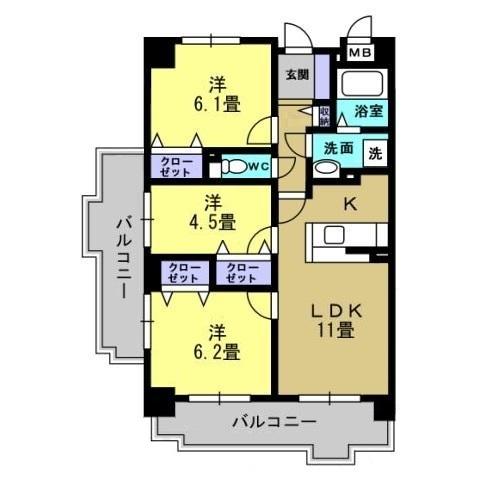 3LDK LDK11 洋6.2 洋6.1 洋4.5