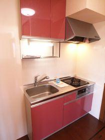 2クチコンロとグリル付きの赤いシステムキッチン♪