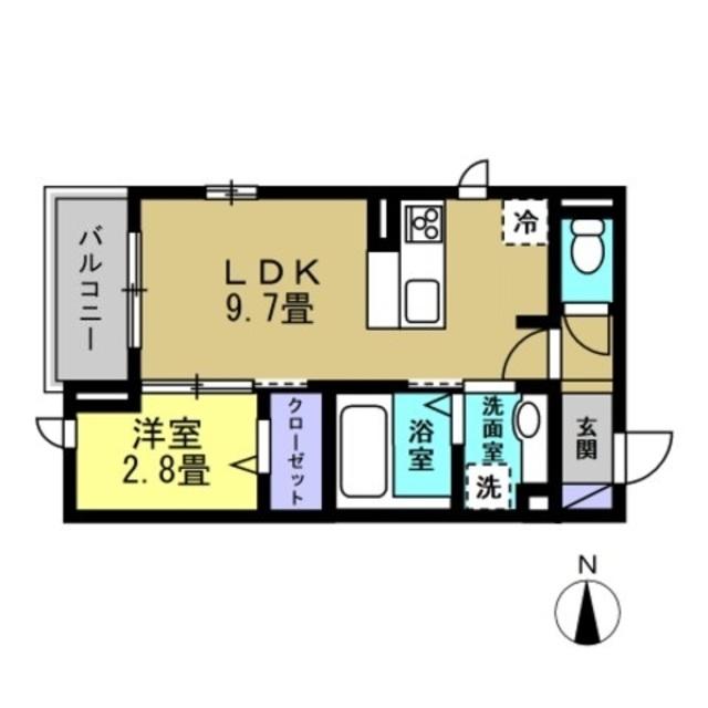 LDK9.7帖・洋室2.8帖