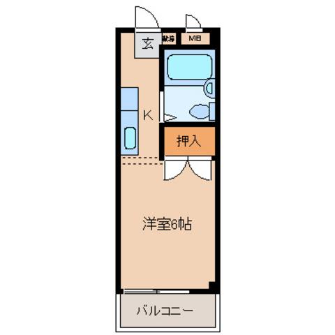 キッチン2帖 洋室6帖