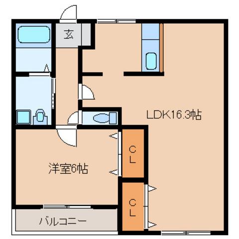 1LDK LDK16.3 洋6