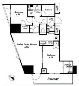 ドレッセ目黒大橋プレヴィ7階Fの間取り画像