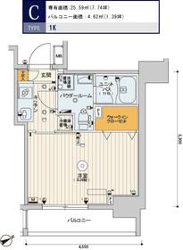 スカイコートヒルズ新宿7階Fの間取り画像