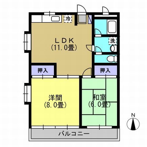 2LDK LDK11 洋8 和6