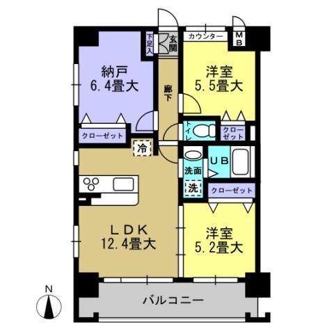 洋5.5帖 洋5.2帖 洋6.4帖 LDK12.4帖