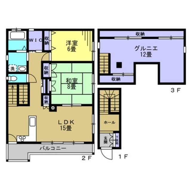 LDK15帖・洋室6帖・和室8帖・グルニエ12帖