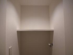 洗濯機置き場の上部に収納棚ありますよ!