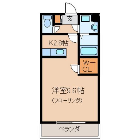 洋室9.6帖 K2.8帖