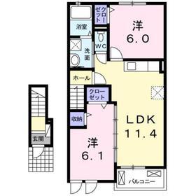 2LDK 55.35平米 5.3万円 香川県高松市勅使町