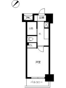 スカイコート品川仙台坂7階Fの間取り画像