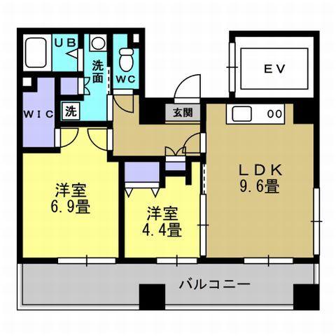 2LDK LDK9.6 洋6.9 洋4.4