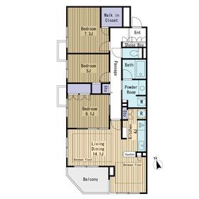 野沢パークハウス3階Fの間取り画像