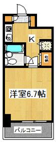 居室6.7帖超の1Kです!