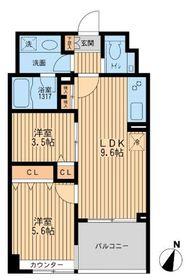 クリオ上野毛ラ・モード5階Fの間取り画像