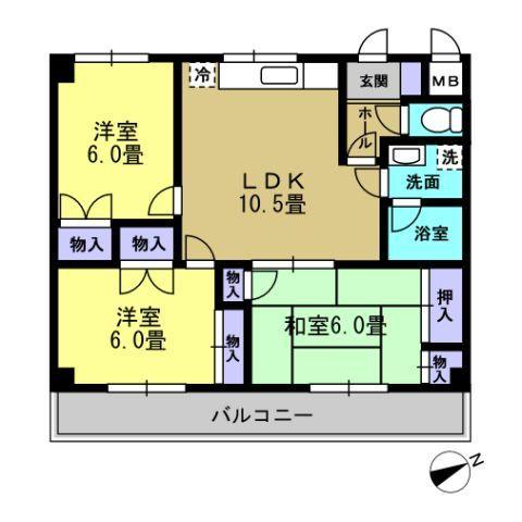 3LDK LDK10.5 洋6 洋6 和6(反転タイプ)