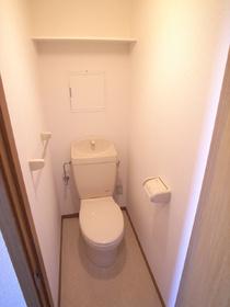上部に収納棚の有るおトイレ。