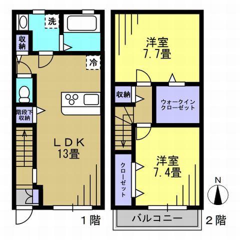 2LDK LDK13 洋7.7 洋7.4