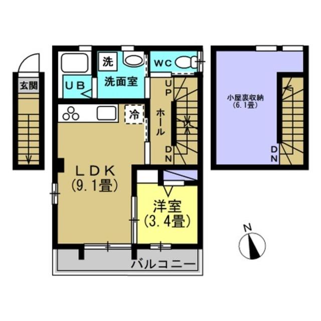 LDK9.1、洋室3.4帖、ロフト