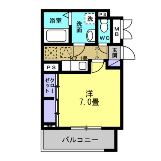 K2.1帖、洋室7帖