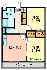 2DK 49.8平米 4.4万円 愛媛県伊予市尾崎9ー2