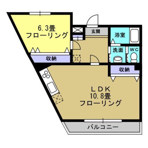 1LDK LDK10.8 洋6.3