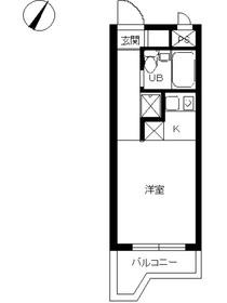 スカイコート綱島22階Fの間取り画像