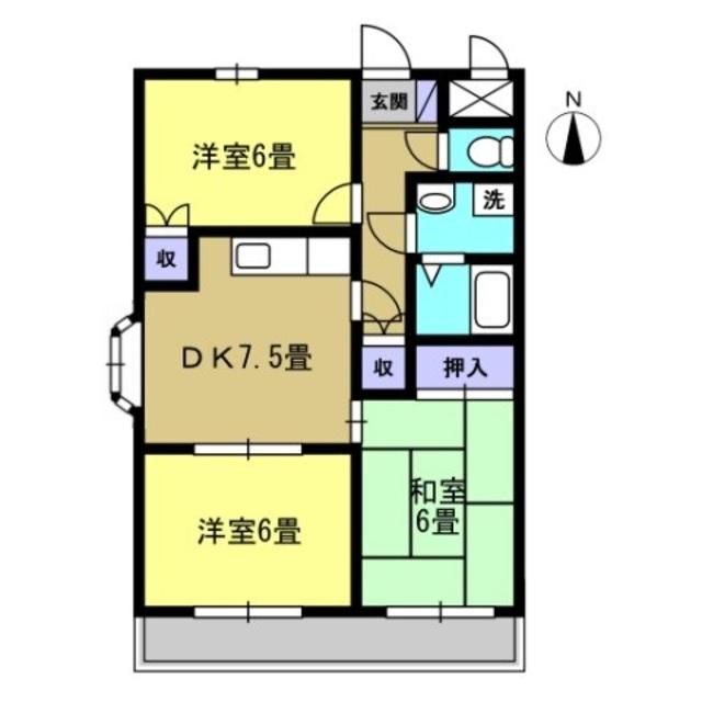 DK7.5帖 洋室6帖 洋室6帖 和室6帖