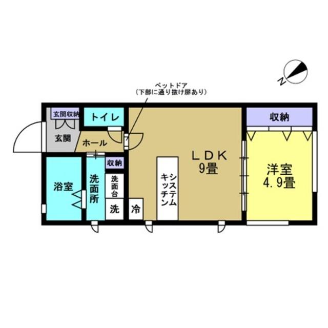 LDK9帖・洋室4.9帖♪ペットドア有り♪