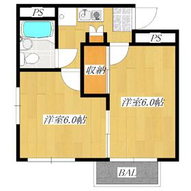 最上階の2K!窓が多く、通風性の良いお部屋です☆