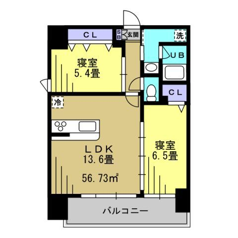 2LDK LDK13.6 洋6.5 洋5.4