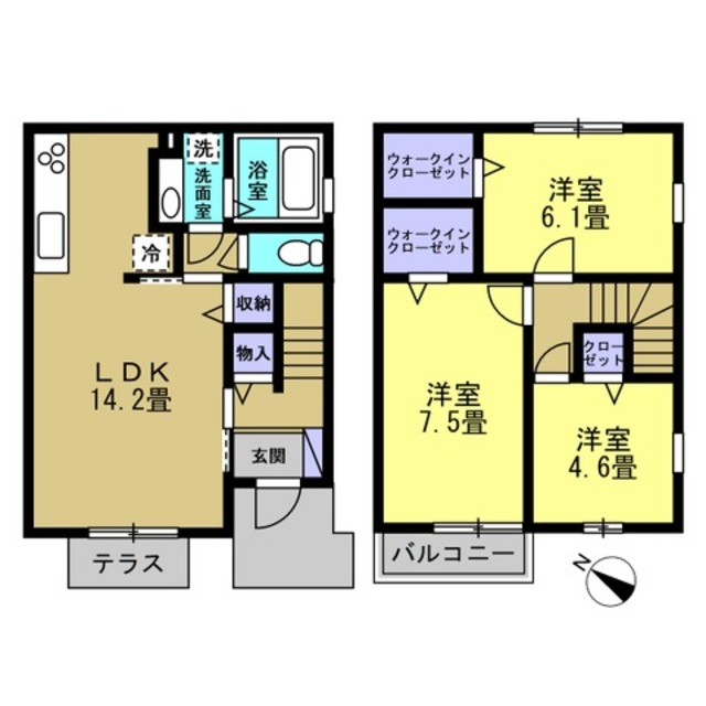 LDK14.2帖 洋室7.5帖 洋室6.1帖 洋室4.6帖