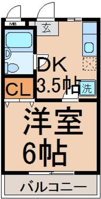 DK3.5帖、洋室6帖