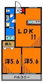 オール洋室の2LDK!カウンターキッチンが魅力ですね