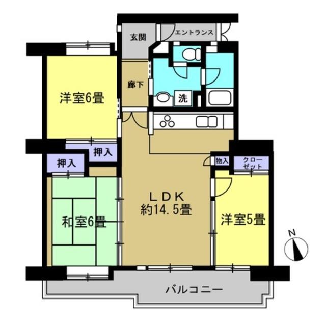 LDK14.5帖、洋室6帖、和室6帖、洋室5帖