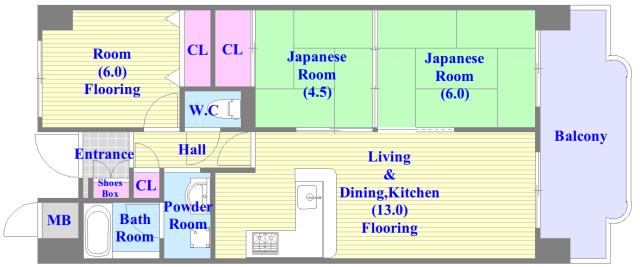 和室のある、とにかく広い間取です。