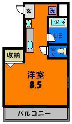 8.5帖の広々した洋室が使いやすい1Kタイプ