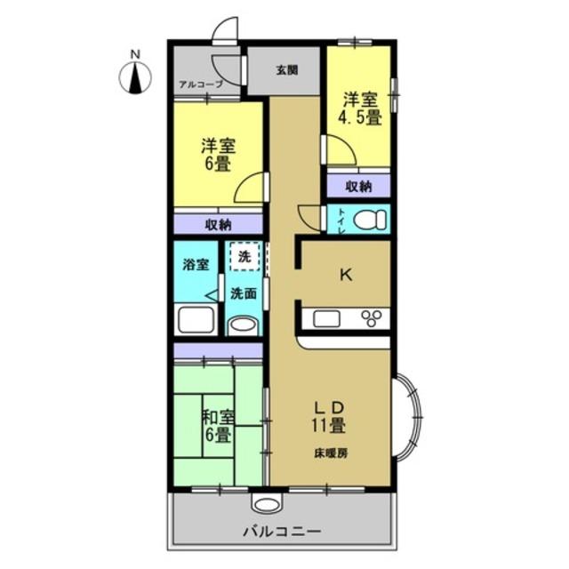 K/LD11帖 洋室4.5帖 洋室6帖 和室6帖