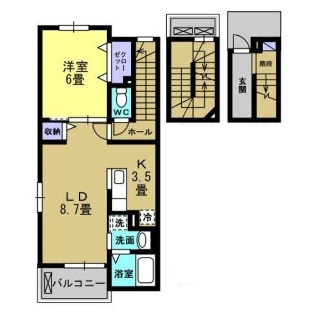 K3.5・LD8.7帖・洋室6帖