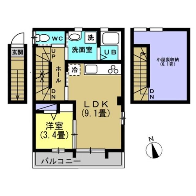 LDK9.1帖、洋室3.4帖、ロフト