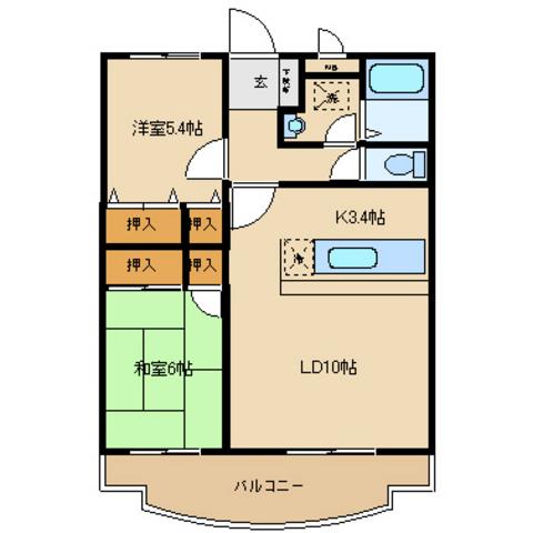 LDK13,4 洋室5,4 和室6