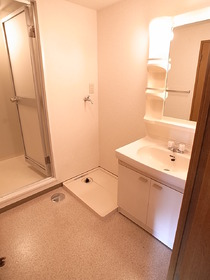 広くて使いやすい洗面スペース。
