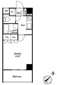 スペーシア三軒茶屋弐番館4階Fの間取り画像