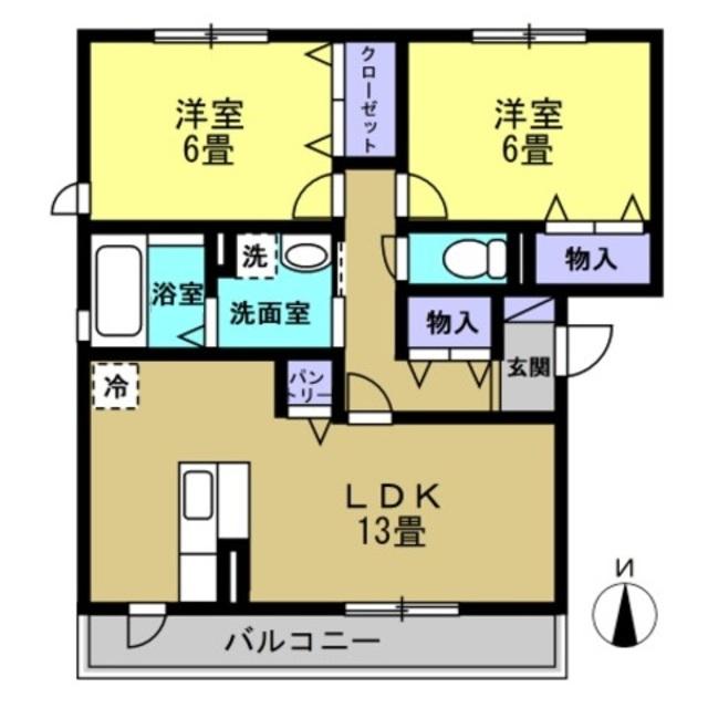 LDK13帖・洋室6帖・洋室6帖