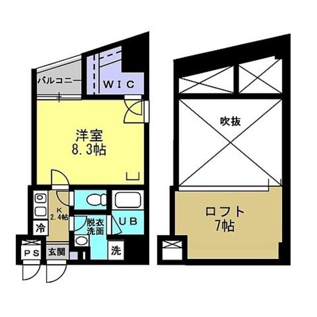 洋室8.3帖 ロフト7帖