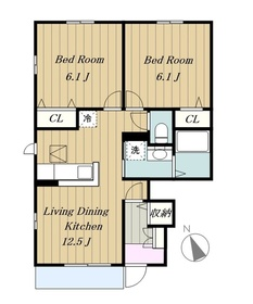 ヴィーナス フォレスト1階Fの間取り画像