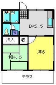 友野ハイツ1階Fの間取り画像