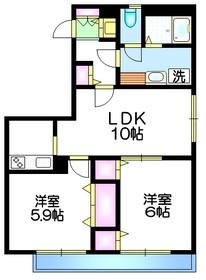 クレール四葉1階Fの間取り画像