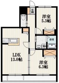 メゾン・ジェミニ2階Fの間取り画像
